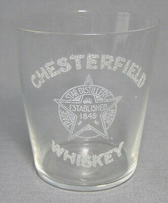 Chesterfield Whiskey Star Distillery Etched Thin Wall Shot Glass Establ. 1849