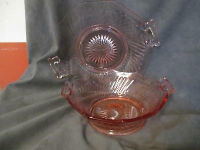 H9  Pink Depression Glass Handled Serving Plate & Bowl Swirl Pattern