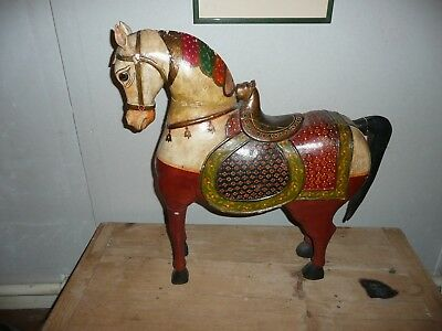 Large Vintage Carved and Painted Indian Horse statue from India