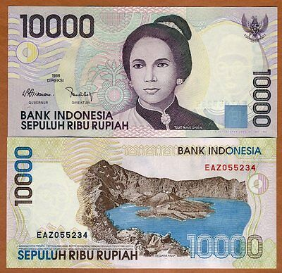 Indonesia 10000 (10,000) Rupiah, 1998, P-137a, UNC > Woman