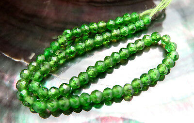 64 AAAAA GREEN RARE GENUINE RUSSIAN CHROME DIOPSIDE FACETED BEADS 6.75cts