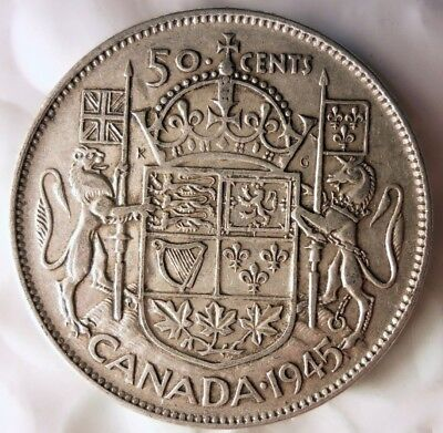 1945 CANADA 50 CENTS - WW2 DATE - Low Mintage Strong Value Silver Coin - Lot A13