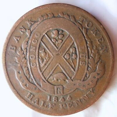 1844 CANADA (MONTREAL) 1/2 PENNY - High Quality Vintage Coin - + Value- Lot #A13