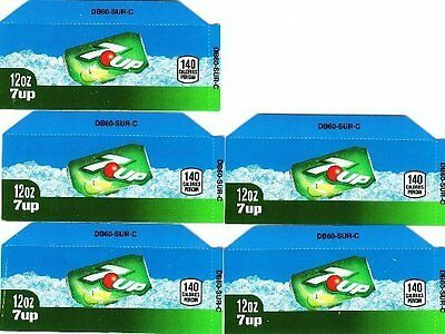7-Up Labels - 5 Small 12 oz Can 7up Soda Vending Machine Flavor Calories Labels