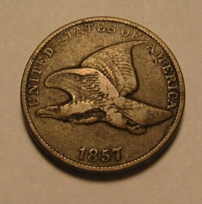 1857 Flying Eagle Cent Penny - Very to Extra Fine Details Obv Damage - 19FR