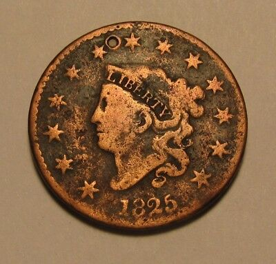 1825 Coronet Head Large Cent Penny - Circulated Condition - 49FR