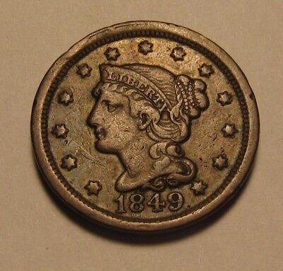 1849 Braided Hair Large Cent Penny - Extra Fine Condition - 56FR