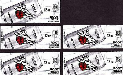 Barqs Root Beer Labels - 5 Small 12 oz Can Soda Vending Machine Calories Labels