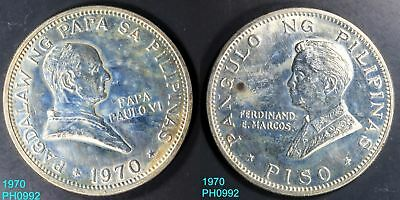 PHILIPPINES Piso 1970 POPE PAUL VISIT 90% Silver Uncirculated with stains