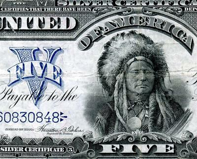 HGR FRIDAY 1899 $5 Indian Chief ((RARER Teehee/Burke)) AWESOME GRADE