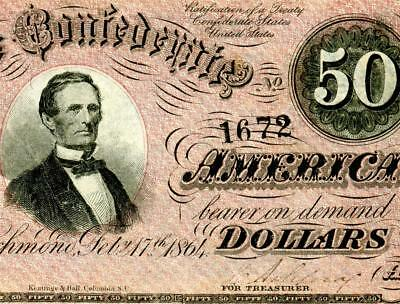 HGR FRIDAY 1864 $50 Confederate ((Awesome COLOR)) Appears UNCIRCULATED
