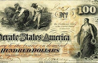 HGR FRIDAY 1862 $100 Confederate ((Slaves/Cotton)) Appears UNCIRCULATED