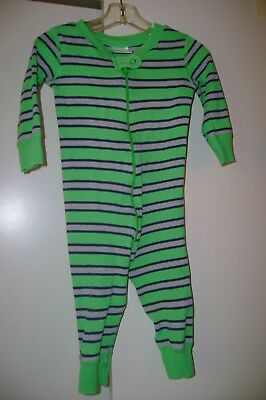 Hanna Andersson green & gray striped organic cotton sleeper-70     9 to 18 mo US