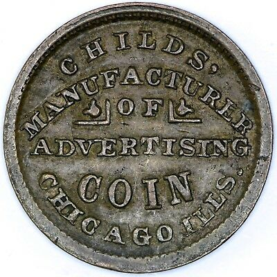 1863 Childs Advertising Token Chicago IL - NO RESERVE Lot 209 of 256