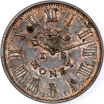 1837 Smith's Clock Time is Money Hard Times Token - NO RESERVE Lot 213 of 256