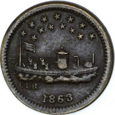 1863 Our Navy Monitor ironclad Civil War Token - NO RESERVE Lot 266 of 256