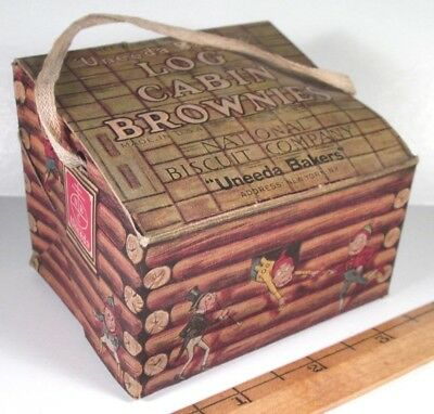 Log Cabin Brownies GRAPHIC BOX - National Biscuit Crackers, Uneeda Bakers - RARE