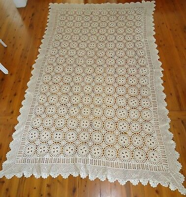 Vintage XL HAND CROCHETED COTTON LACE TABLECLOTH or BED THROW * 2.5m x 1.5m