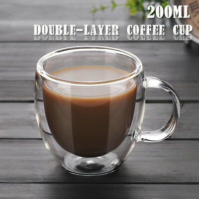 200ml Double Layer Wall Tea Coffee Cup Glass Heat-resistant Hot Drink Mug Handle