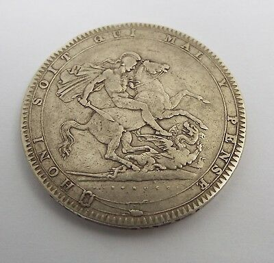 Fine Large English Antique George Iii 1819 Solid Sterling Silver Crown Coin