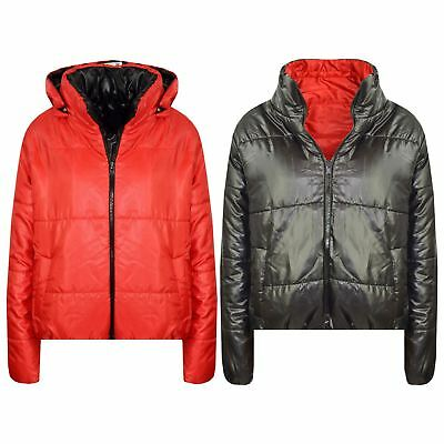 Kids Girls Jackets Red Hooded Padded Zipped Back To School Jacket Coats 5-13 Yrs