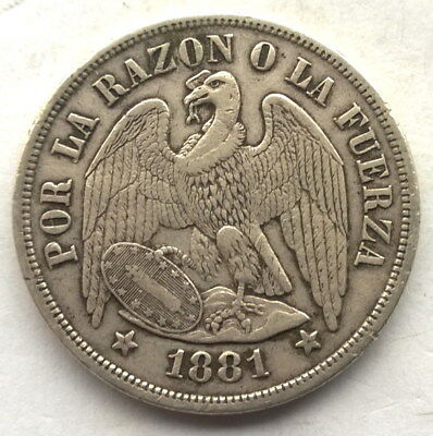 Chile 1881 Eagle UN Peso Silver Coin
