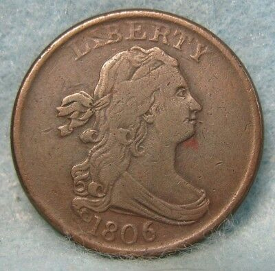 1806 Small 6 Stemless Draped Bust Half Cent VF * US Coin *
