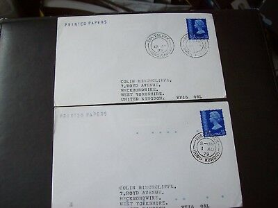 2 X Hong Kong Stamps on Cover with 'Sha Tau Kok'  CDS to UK