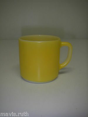 Federal Glass Mug Yellow Heat Proof Stackable Vintage Retro Coffee Cup Made USA.