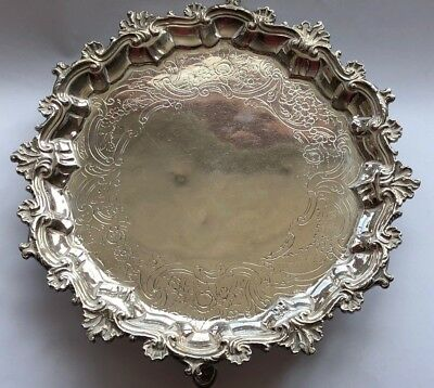RICHARD RUGG - GEORGE ll ANTIQUE ENGLISH STERLING SILVER SALVER - LONDON 1758