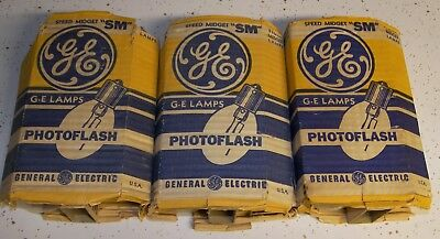 Vintage GE SM Speed Midget clear flashbulbs Flash Bulbs  _GSU