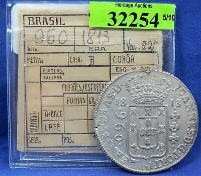 1813 B 960 Reis Brazil Crown Overstrike On 8 Reales Silver Study Coin O/s