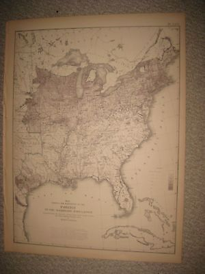 Antique 1874 United States Census Map Foreign Immigrant Territory Texas Florida