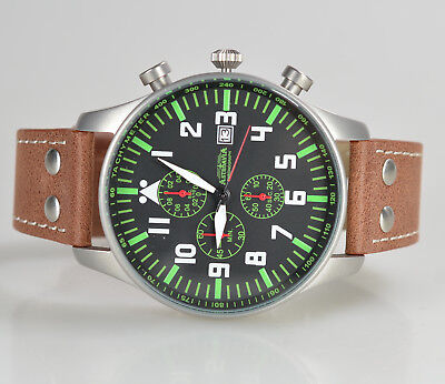 ASTROAVIA XL PILOT 10L NEW EDITION 6 ZEIGER CHRONOGRAPH 46mm FLIEGERUHR N233