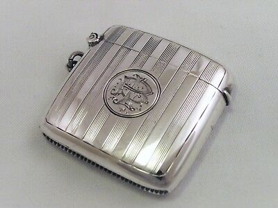 Large Solid Silver Vesta Case - Birmingham 1923 - Mint Condition 'b.l' Or L.b.'