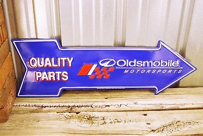 "Oldsmobile Motorsports Quality Parts 27"" Arrow Metal Tin Sign Vintage Garage"