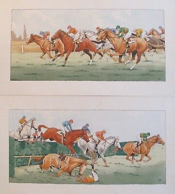 2 1920S Original Vintage French Art Deco Horse Pochoirs Le Rallic Steeplechase