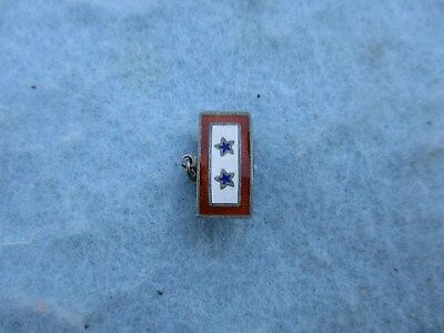 WWII Mother Son in Service Pin 2 Blue Stars Sterling Marked WW2