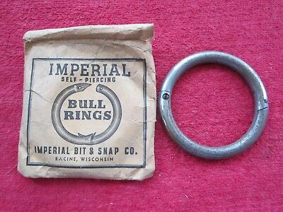 "VINTAGE IMPERIAL 2 3/4"" x 5/16"" SELF PIERCING STEEL BULL NOSE RING, NOS"