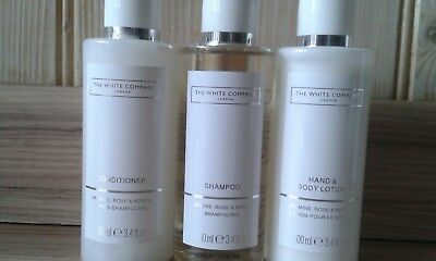 white company flowers set of 3 100ml shampoo,conditioner,hand & body lotion