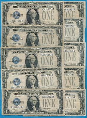 10-$1.00 1928 Mixed Series Funny Back Silver Certificates Average  Circulated