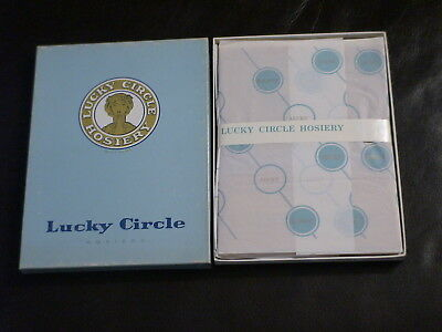1PR Late 60's Lucky Circle Extra Long 15 Den RHT Nylons Stockings 11XLx35 Beige