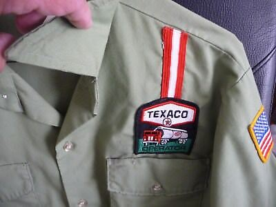 Vintage TEXACO Gas Service Station Uniform Used Shirt Long Sleeve Medium