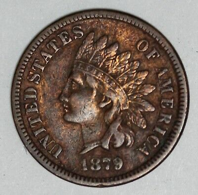1879 U.S. Indian Head One Cent Penny Coin - RARE Key Date