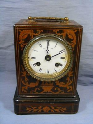 19C ANTIQUE FRENCH STRIKING MANTLE CLOCK WOOD & INLAY PATTERN JAPY FRERES c1880
