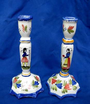 Pair Hb Quimper French Art Pottery Faience Majolica Candlesticks Candle Holders
