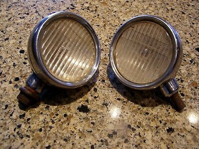Old Pair Antique Vintage 1930's 1931 Dodge 8 Car Cowl Lights Lamps