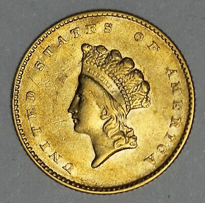 1855 U.S. Type 2 Indian Princess Head $1 One Dollar Gold Coin - NICE QUALITY