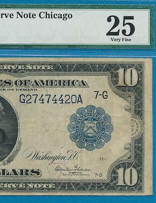 $10. 1914 FR.929 RARE BURKE/GLASS  FEDERAL RESERVE NOTE, PMG CERTIFIED  vf25