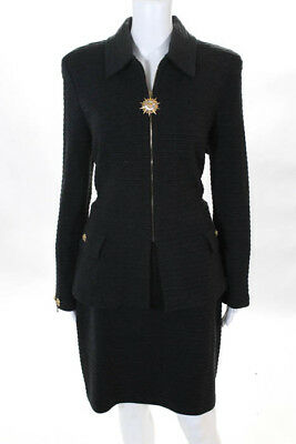 St. John Collection By Marie Gray Wool Crew Neck Gold Tone Skirt Suit Size 10